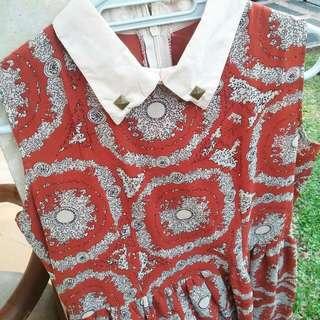 Studded Collar Patterned Dress