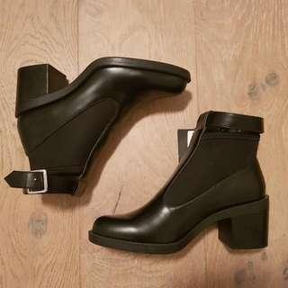 Zara Original Leather Black Boots Size 8