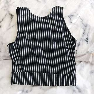 Stripped Black And White Crop Top
