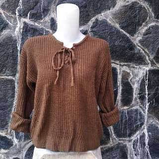 Brown knitted