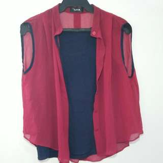 NAVA Sleeveless Red Top (Sold As A Set)