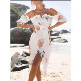 Peach Floral Off shoulder Dress