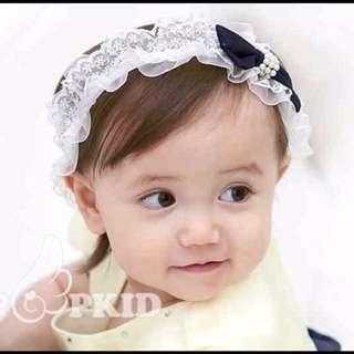 BH003 兒童發飾 新款 珍珠 蝴蝶結 兒童發帶