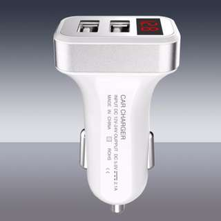 Car USB Dual Port Charger with Digital Battery Indicator