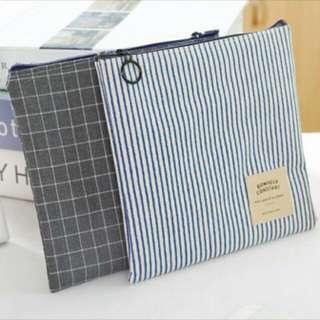 藍條紋帆布衛生棉收納包