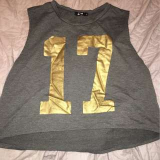 Number 17 Gold/Grey Crop Top