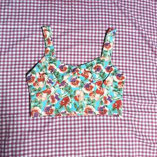 Aquamarine Blue Floral Bustier Cropped Top