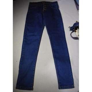 高腰深藍牛仔褲 M號