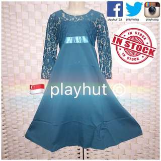 Muslim Girl Turquoise Lace Dress