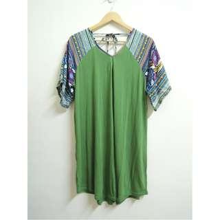 民族風 圖騰綠色洋裝 saibaba