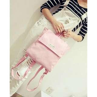 方形粉紅後背包
