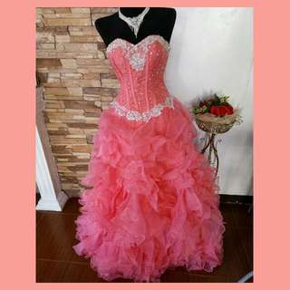 Coral Pink Quinceanera Gown