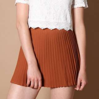 [CLEARANCE] TSW Lorraine Pleated Skorts (Chestnut)