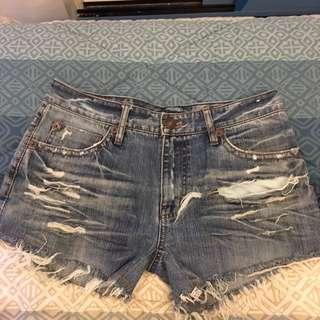 Tattered Denim Shorts