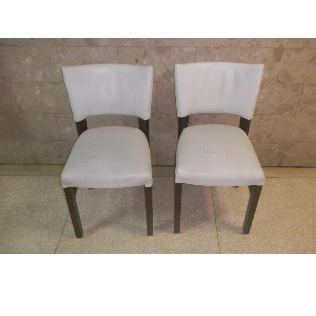 2張$1200 實木皮面沙發椅 餐椅 書桌椅 中西式 實木 木椅 靠背 單人 椅組