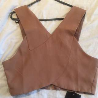 MissGuided Tobacco Coloured Crop Top