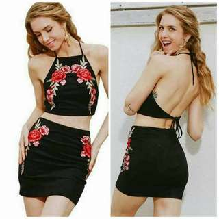 Floral Embroidered Crop Top Mini Skirts