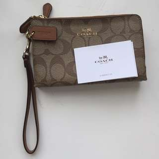 IMPORTED COACH Brown Signature - Double Zip Wallet