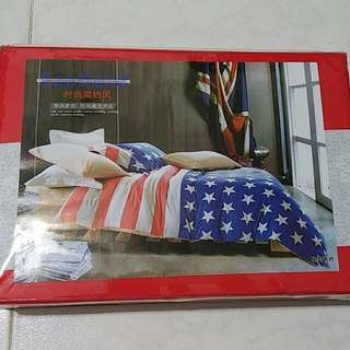 American Flag Fitted Bedsheet Set (Single)