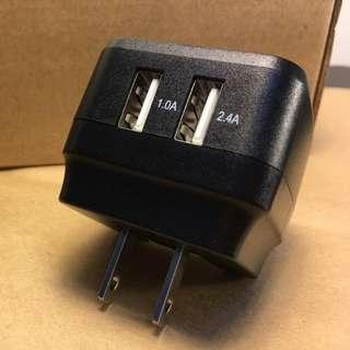 (全新) 兩孔/雙孔/雙口USB充電器 英國Bigben 5v/安卓/apple都適用