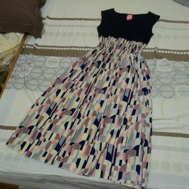 幾何圖形高腰長洋裝/渡假洋裝,粉