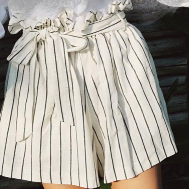 韓版#東大門#棉麻短褲#另付同材質綁帶#腰鬆緊