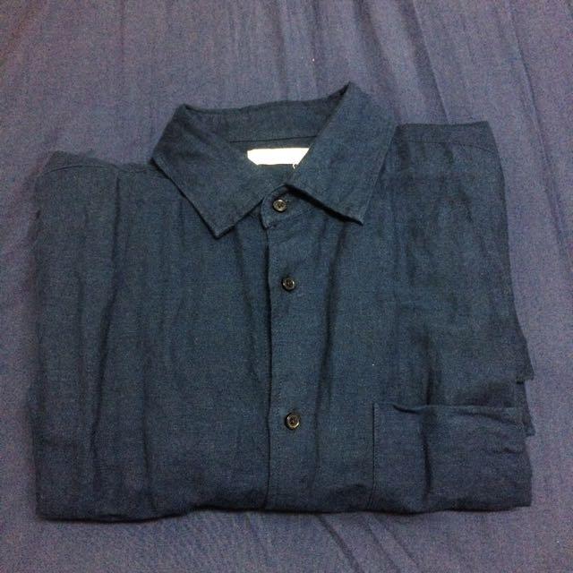 棉麻 長袖襯衫 深藍