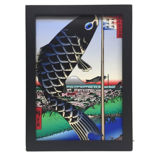 🇯🇵東洋風 富士山 🎏鯉魚旗 掛畫 壁飾