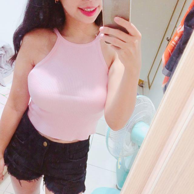 粉紅色 兩穿式 鏤空 削肩 背心