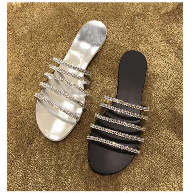 韓版 一字 水鑽 涼鞋 拖鞋 59B