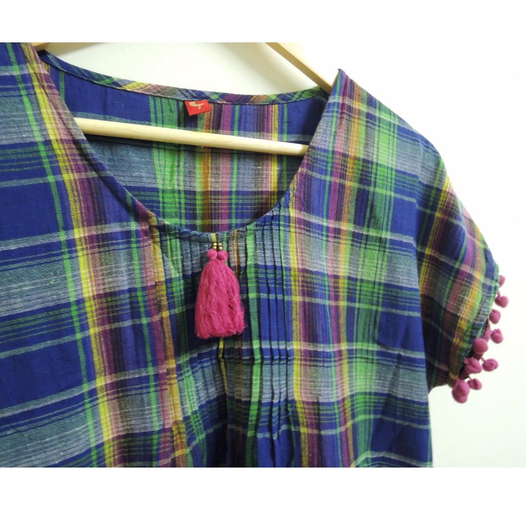 民族風 繽紛格紋流蘇洋裝 saibaba