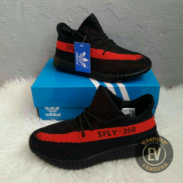 brand new 10be3 ea2c4 ADIDAS Yeezy Sply 350 Black Lined Red