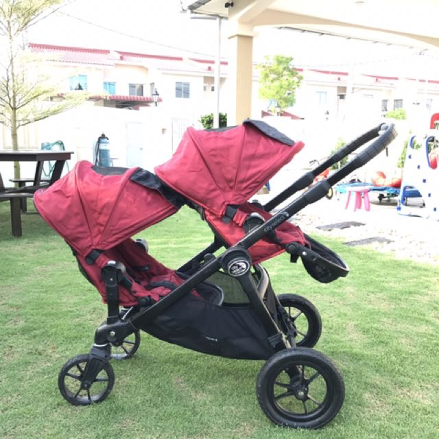 Baby Jogger City Select Double Stroller Red Black Frame