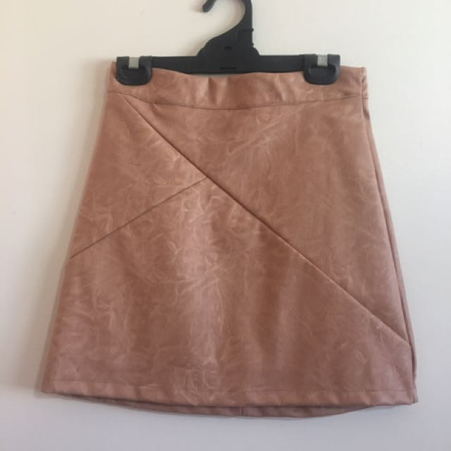 Beige Leather Skirt