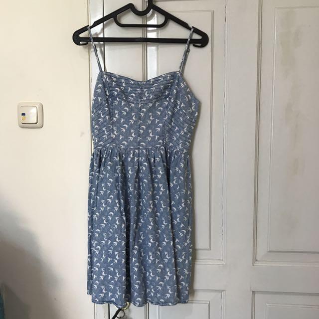 Bershka Blue Bird Pattern Cute Dress