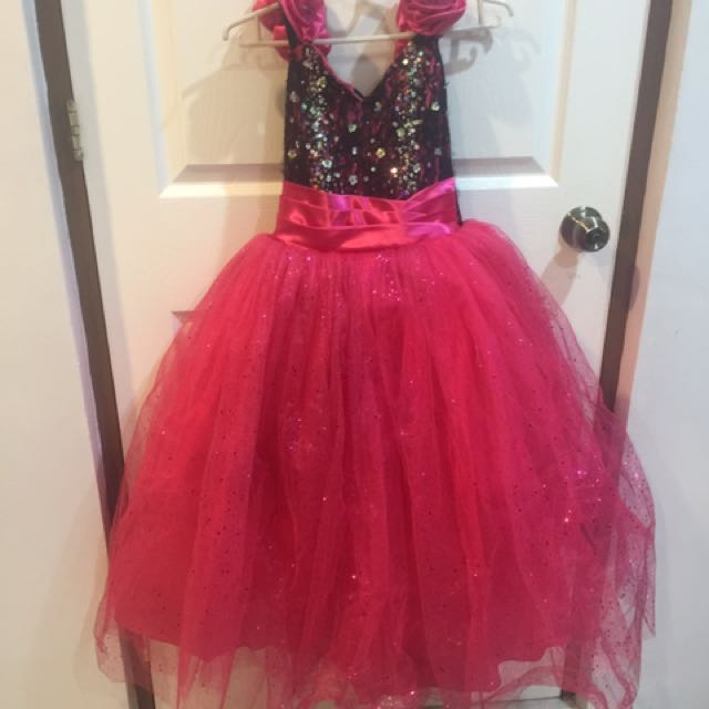 black and pink gown for kids