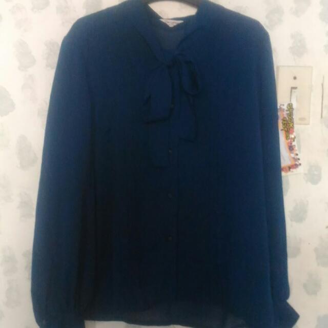 Blue Chiffon Polo (S - M)