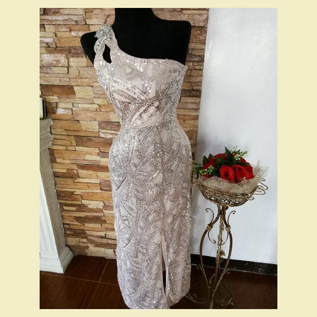 Blush Pink Venus-Cut Dress