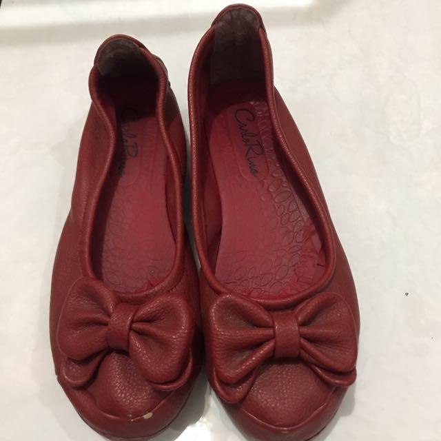 Carlo Rino Red Flat Shoes