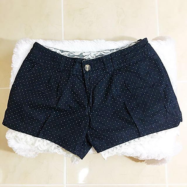 celana pendek wanita polkadot blue navy