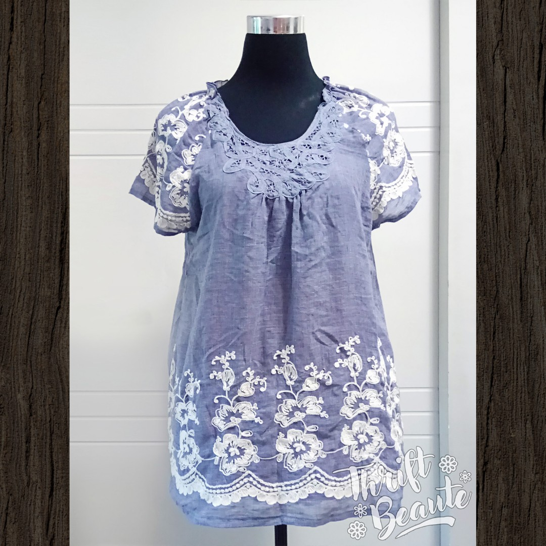 Chambray Light Fabric Long Top/Mini Dress