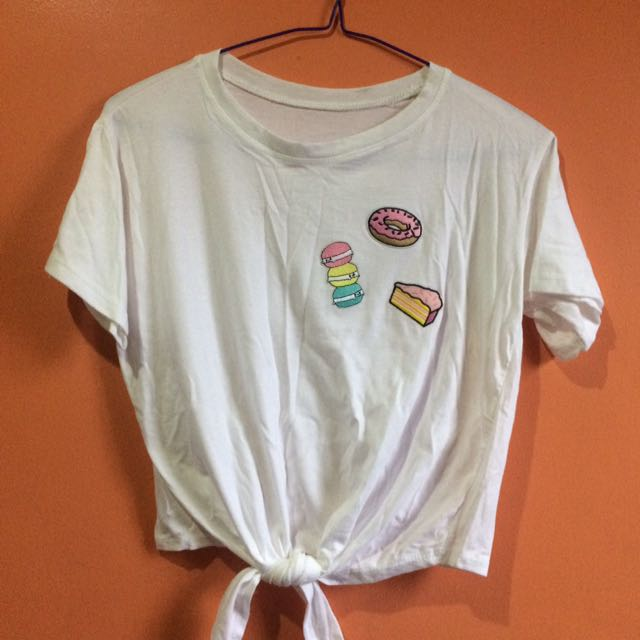 Patches Crop Top - White
