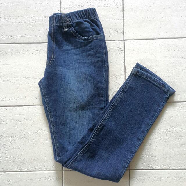 Denim Garterised Skinny Jeans