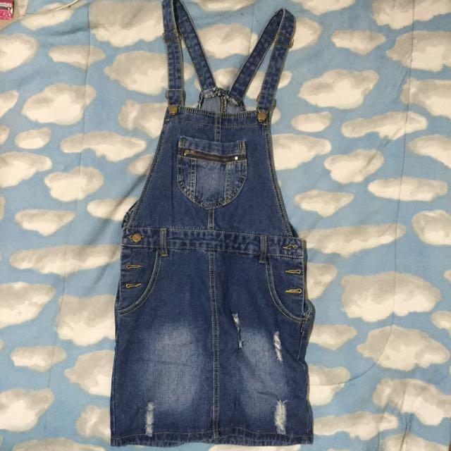 Denim Skirt Suspender Overall Jumper Jean Strap Dress