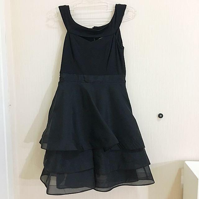 dress pesta hitam wanita tutu skirt