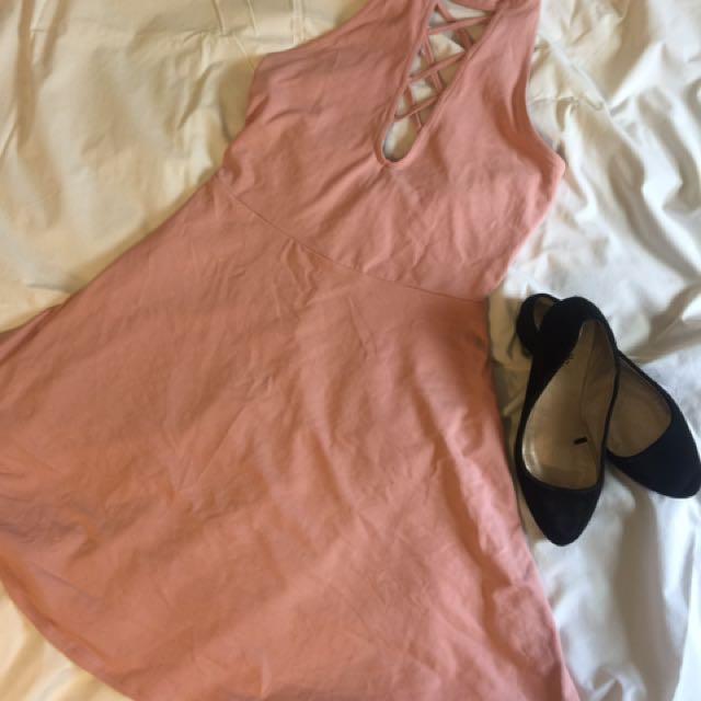 EXPRESS Lace-Up Mock Neck Skater Dress