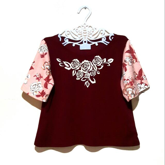 Floral Combination Semi Crop Top (Maroon)