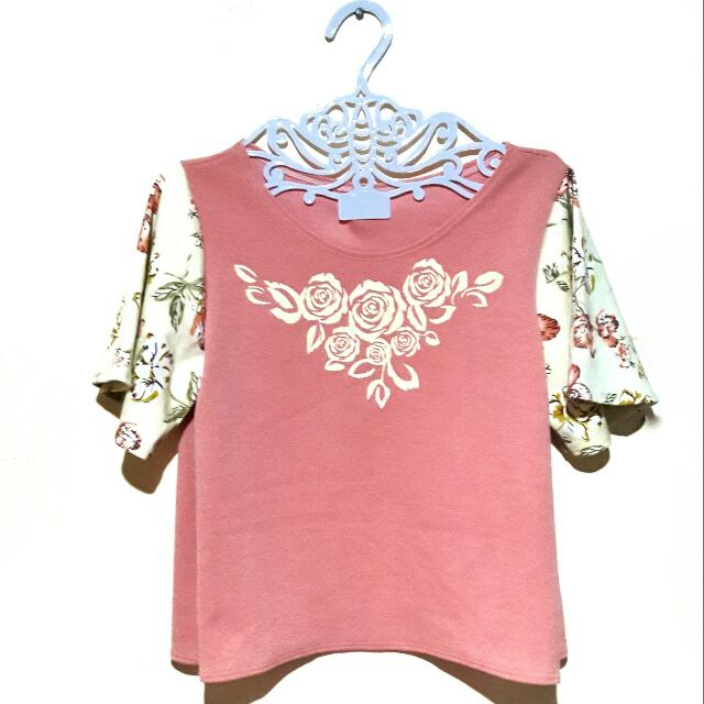 Floral Combination Semi Crop Top (Pink)