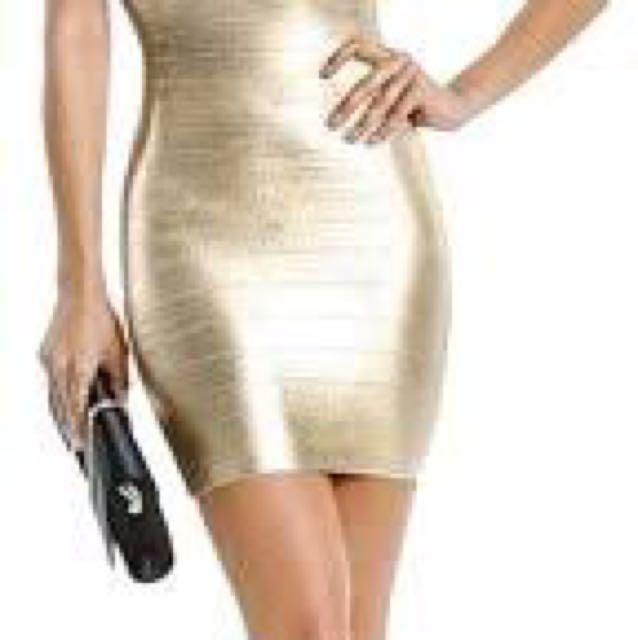 GUESS Marciano Gold Bandage Dress Size M