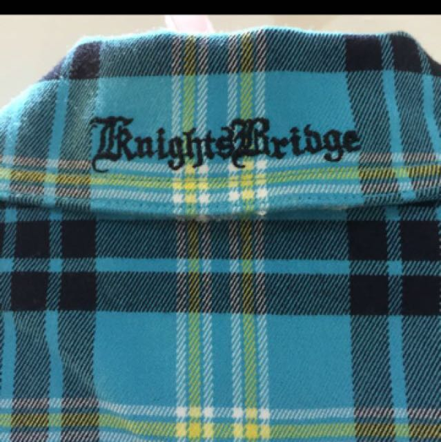 KB  knightsbridge藍格紋短袖小外套